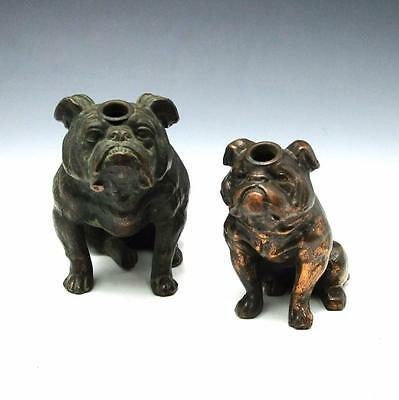 2 Vintage Ronson Art Metal Works Bulldog Striker Lighter Lot RARE Small Version