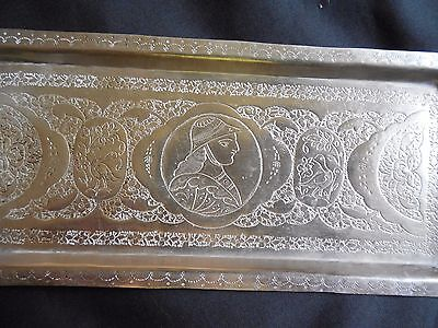 Antique Hand Chased Middle Eastern Islamic Persian Silver Tray