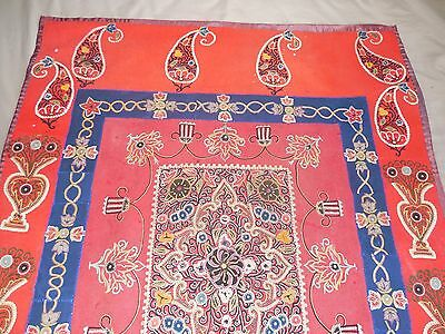 Antique Islamic Persian Rasht Hand Embroidery Suzani Tapestry Textile 19Th C.
