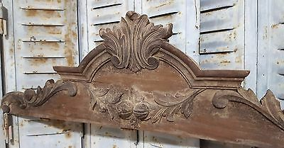 CARVED WOOD PEDIMENT ANTIQUE FRENCH FRUIT WEATHERED SALVAGED CARVING CREST 19th