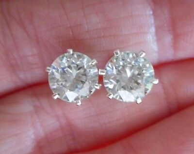 EARRING PAIR SILVER 3.06 TCW 1.53ct  VVS1 7.80mm ICY WHITE ROUND MOISSANITE