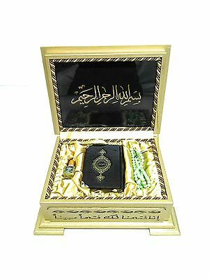 Holy Quran With Wooden Box & 8x11cm Pocket Size Faux Leather Cover Quran (0241)