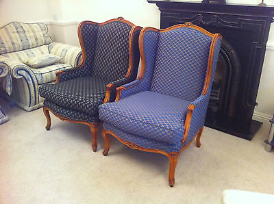 Pair Of Coopers Of Southend Wing Back Armchairs Antique Style Luxury Designer
