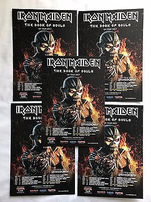 FIVE promo IRON MAIDEN book of souls FLYERS live 2017 UK concert tour