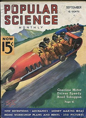 POPULAR SCIENCE 09/1936-PULP STYLE MOTORCYCLE COVER-9 X 12-vg