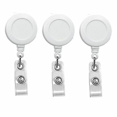Lot 50 ID Badge Holder Retractable Key Clip Reel Wholesale - White