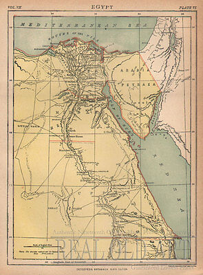 1884 Antique Map of Egypt from Encyclopedia Britannica