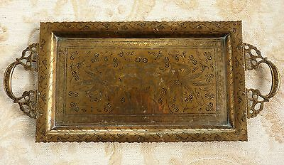 Vintage Engraved Brass Tray With Handles * Drinks * Serving * Tea Party