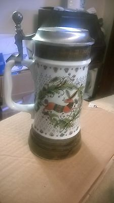 Vintage Bareuther German Beer Stein With Pewter Lid. 8 inches tall