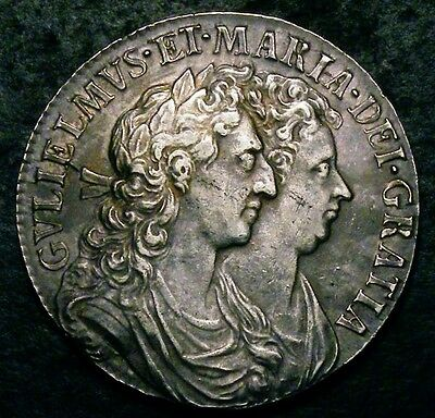 1689 GVF/AEF William and Mary Half Crown ESC 505 CGS50, ~AU55 2nd Finest Graded