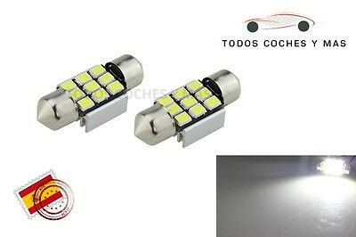 2 X Bombillas Led Coche Canbus Festoon 31Mm C5W 9Led Smd 2835 185Lm Matricula