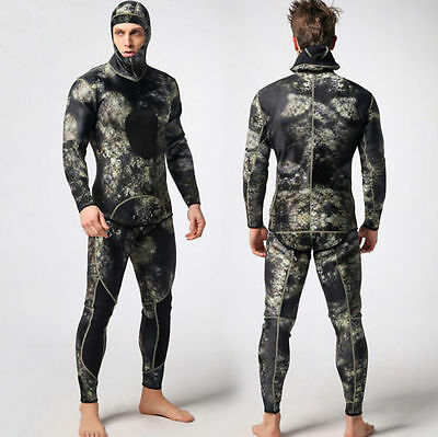 Camouflage Spearfishing Wetsuit Green Gray Camo Scuba Hooded Hood 3mm 2 Piece