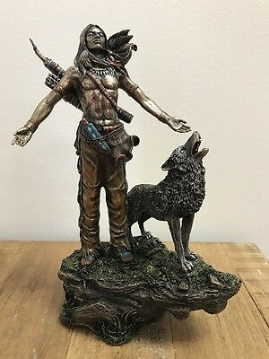 Native American Indian Praying w/ Howling Wolf Statue Sculpture Bronze Figurine