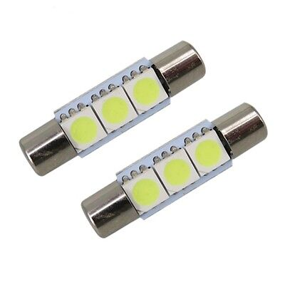 2 BOMBILLAS LED COCHE FESTOON C5W 28MM  3SMD 5050 Tipo Fusible PARASOLES BLANCO
