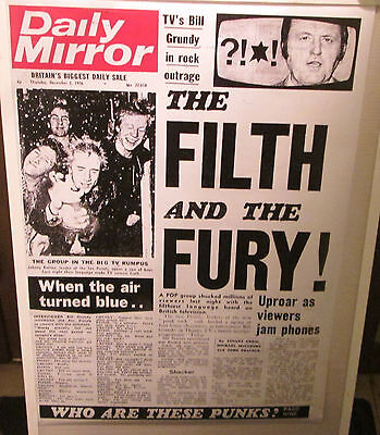 Sex Pistols Poster Live New Never Opened Late 2000's  London 76 Daily Mirror
