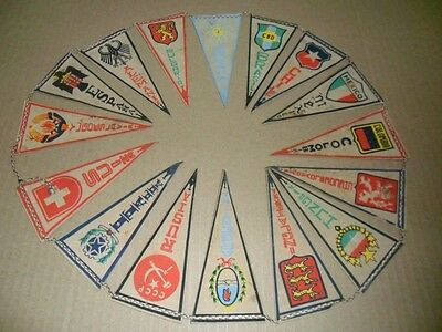 1962 World Cup Original Set Of Mexican Pennants  Chile 1962 [16 National Teams]