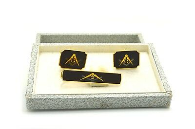 Pair of Vintage Yellow Colored Masonic Pair of Cufflinks & Matching Tie Clip Set