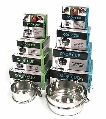 Stainless Steel Coop Cup Pet Animals Birds Drink Food Feeder Cage Bowl Dish Hang