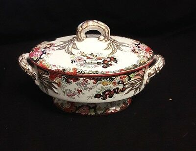 Antique English Transferware Covered Dish Chinoiserie
