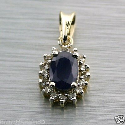 Natural Blue Sapphire Diamond 14K 585 Yellow Gold Cluster Pendant