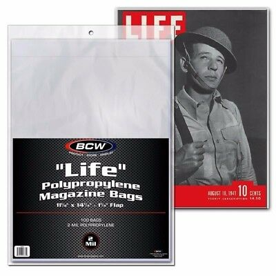 "Pack of 100 ""LIFE"" Magazine Size Bags 2Mil Storage Sleeves BCW NEW SEALED"
