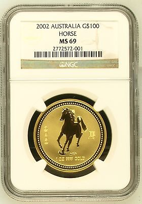 2002 G$100 AUSTRALIA 1 Oz. GOLD COIN Year of the HORSE Lunar Zodiac NGC MS69