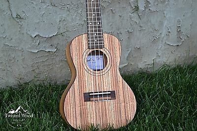 Concert Zebra Wood Ukulele - The Bailer by Twisted Wood Guitars W/Gig Bag