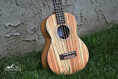 Zebra Wood Tenor Ukulele - The Bailer by Twisted Wood Guitars  W/Gig Bag