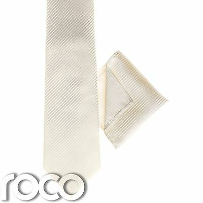 Boys Ivory Tie, Boys Striped Ties, Ivory Pocket Square, Pocket Handkerchief