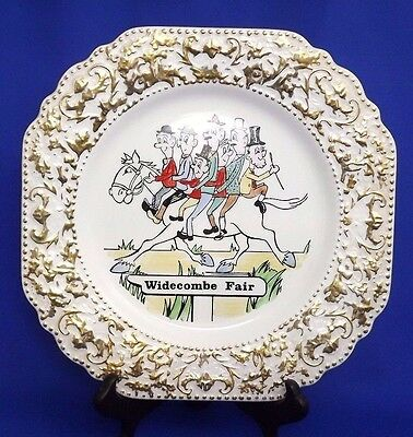 """Vintage LORD NELSON WIDECOMBE FAIR  Square Cake / Sandwich Plate (8.5"""" 21cm) VGC"""