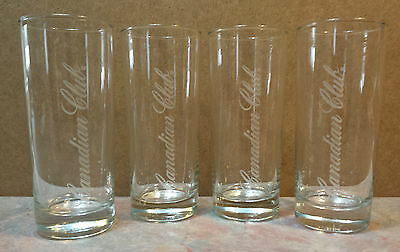 Canadian Club Branded Tall Narrow Whisky/Whiskey Set of 4 Bar Glasses