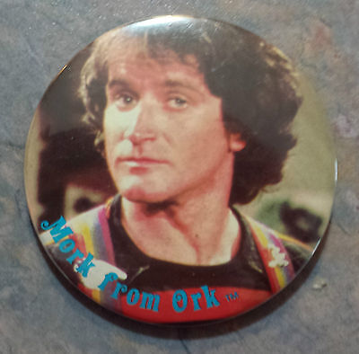 "Robin Williams 'Mork from Ork' Pinback 3"" Mork & Mindy"