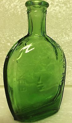 Mini Small Green Benjamin Franklin Glass Bottle  Clean - Green Glass Bottle
