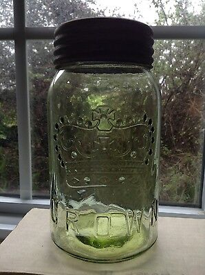 Gorgeous GREEN Quart CROWN  Pre 1930's Canning Jar