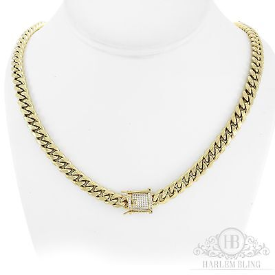 "Men's Cuban Miami Link Chain Stainless 14k Gold Plated 30"" 8mm *Diamond Clasp*"