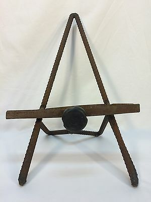 Vintage Iron Machine Age Industrial Picture Holder Easel Display Stand