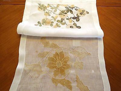 Table Runner Hand Embroidered Vintage Antique Linen Dresser Scarf Society Silk