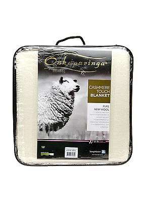 Onkaparinga Pure New Australian Wool Blanket Cashmere Touch -Cream  QUEEN