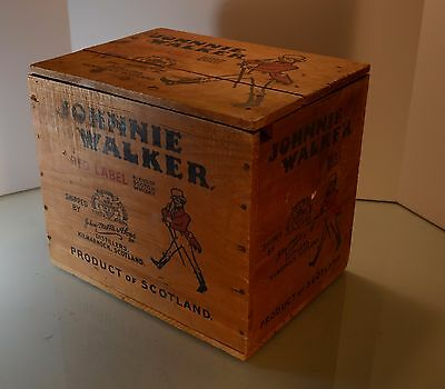 Vintage Johnnie Walker Red Label Wood Shipping Box With Lid Display Complete