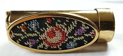 Vintage Mid Century Lipstick Tube Holder & Floral Tapestry Mirror West Germany