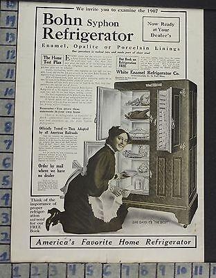 1907 Bohn Syphon Ice Chest Fridge Box Kitchen Home Decor Vintage Art Ad  Co68
