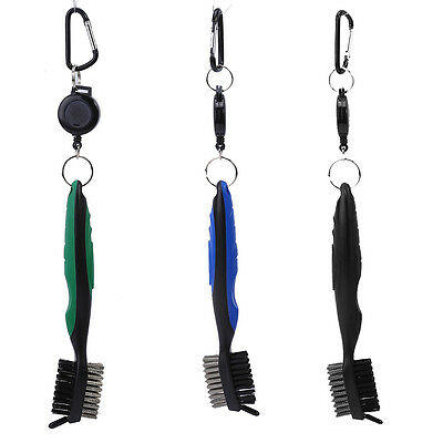 3in1 Dual Bristles Golf Club Brush Cleaner Ball Cleaning Clip Groove Lightweight