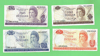 #d297. New Zealand Paper  $1, $2, $5 & $10  Well  Circulated  Banknotes