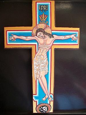 HAND PAINTED WALL CROSS.JESUS CHRIST- CRUCIFIX/Crucifijo Kruzifix/ plus GIFT.