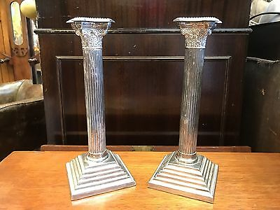 Superb Pair Of Edwardian Silver Plate Corinthian Column Candlesticks. Offers?