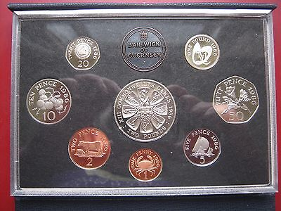 Guernsey 1986 Royal Mint Proof 8 Coin Set coinage Collection 1 Penny - 2 Pound