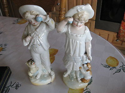 Beautiful Antique Courting Couple On Phone Austrian Figurine Ornament