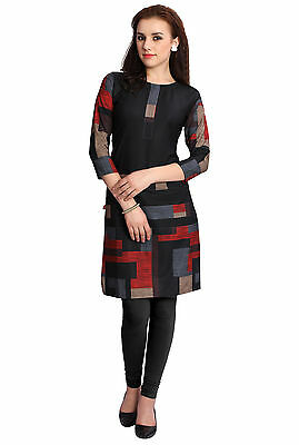 M.Tex Kurti For Women Black Color 3/4th Sleeves Boat Neck Crepe Kurta