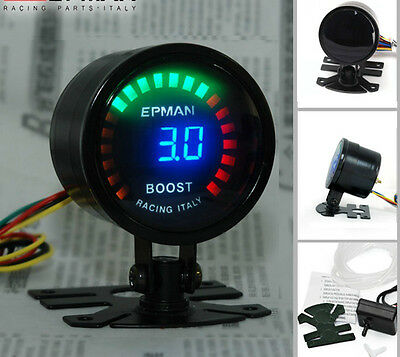 Manometro pressione turbo 3 bar 52mm boost gauge digitale switch 3bar/45psi led