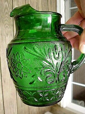 "NMint 7""H Anchor Hocking Forest Green Sandwich 37-oz. ICE LIPPED JUICE PITCHER"